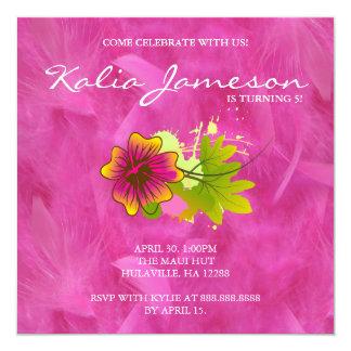 Luau Birthday Party Invite Hibiscus Flower Feather