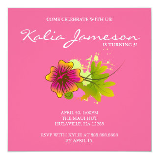 Luau Birthday Party Invite Hibiscus Flower Pink 2