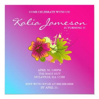 Luau Birthday Party Invite Hibiscus Flower Pink Bl