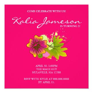 Luau Birthday Party Invite Hibiscus Flower Pink