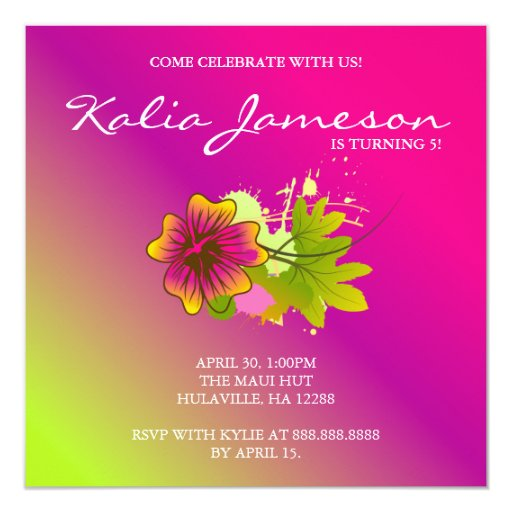 "Luau Birthday Party Invite Hibiscus Flower Pink Li 5.25"" Square Invitation Card"