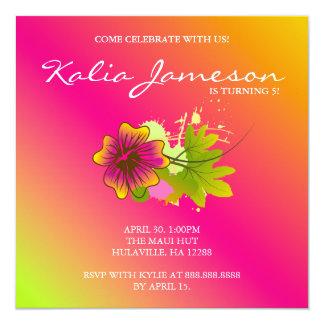 Luau Birthday Party Invite Hibiscus Flower Pink O