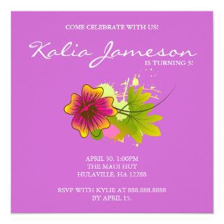 Luau Birthday Party Invite Hibiscus Flower Purple