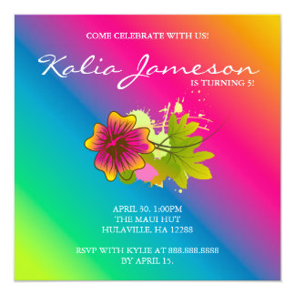 Luau Birthday Party Invite Hibiscus Flower Rainbow