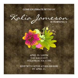 Luau Birthday Party Invite Hibiscus Flower Suede