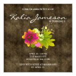 "Luau Birthday Party Invite Hibiscus Flower Suede 5.25"" Square Invitation Card"