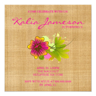 Luau Birthday Party Invite Hibiscus Flower Weave