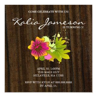 Luau Birthday Party Invite Hibiscus Flower Wood Da