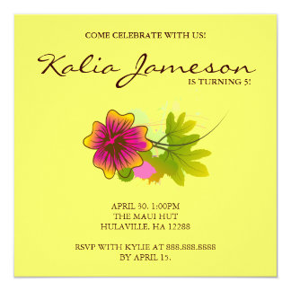 Luau Birthday Party Invite Hibiscus Flower Yellow