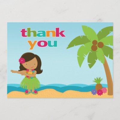 Tropical Birthday Thank You Card Luau Flamingo Zazzle Com