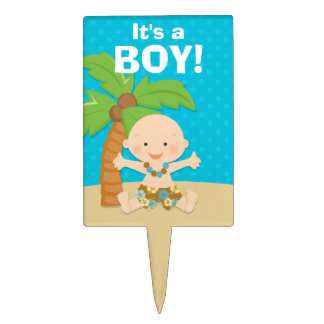 Luau Boy Baby Shower Cake Pick