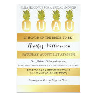 Luau Bridal Shower Gold Invitation