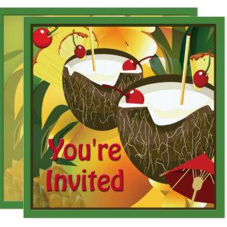 Luau Coconut Drinks Party Invitation