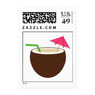 Luau Coconut Postage Stamps