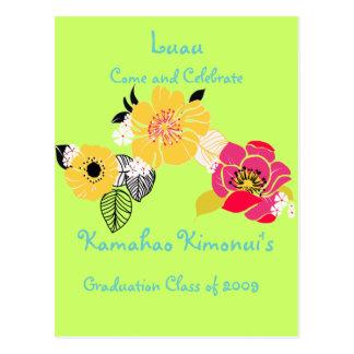 Luau Graduation Invitations tropical colors Postcard