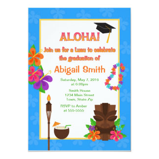 Luau Graduation Party Invitation Announcement