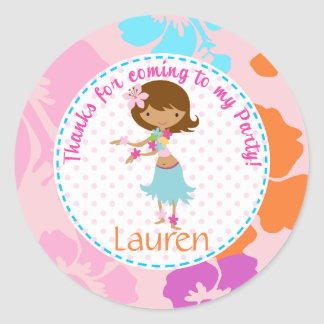 Luau Hawai girl 2inch round personalized favor tag Classic Round Sticker