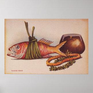 Luau hawaiano retro póster