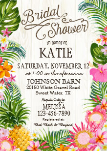 Hawaiian bridal shower invitations zazzle luau hawaiian beach rustic bridal shower invitation filmwisefo