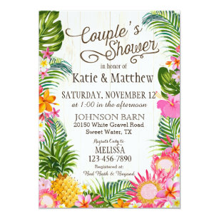 Hawaiian bridal shower invitations zazzle luau hawaiian beach rustic couples shower invitation filmwisefo