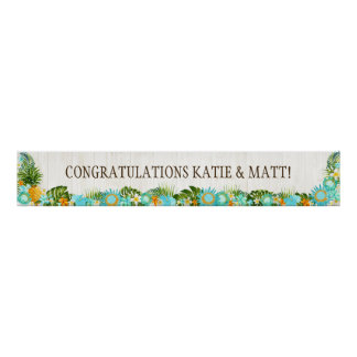 Luau Hawaiian Beach Rustic Wedding Banner Poster