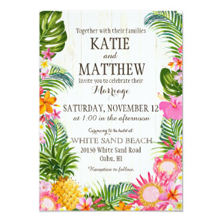 Luau Hawaiian Beach Rustic Wedding Card