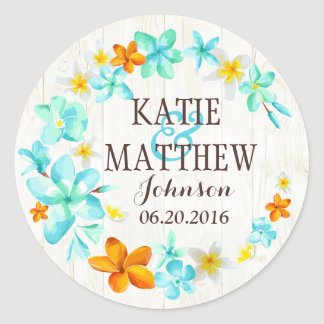 Luau Hawaiian Lei Rustic Beach Wedding Label