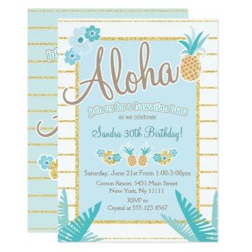 Hawaiian Themed Luau, Hawaiian Pineapple Party Invitations