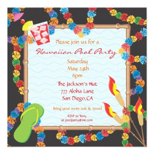 Luau Hawaiian Pool Party Invitation Card