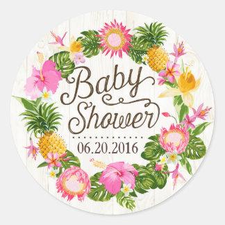 luau hawaiian rustic beach baby shower label