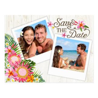 Luau Hawaiian Rustic Beach Save the Date Postcard