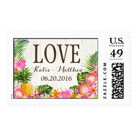 Luau Hawaiian Rustic Beach Wedding Postage