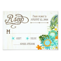 Luau Hawaiian Wedding Beach Rustic Beach RSVP Card