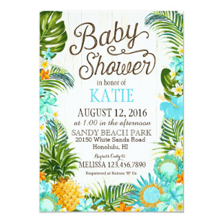 Luau Hawiian Beach Rustic Baby Shower Card