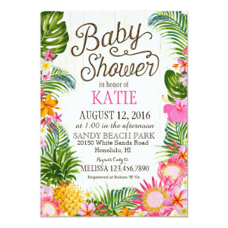 Beautiful Luau Hawiian Beach Rustic Baby Shower Card
