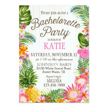 Luau Hawiian Beach Rustic Bachelorette Party Invitations