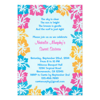 Luau Hibiscus Sweet Sixteen (16) Invitation