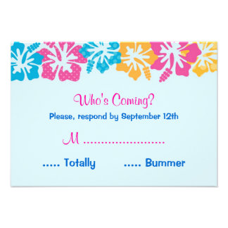 Luau Hibiscus Sweet Sixteen (16) RSVP Card Personalized Invite