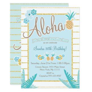 """Luau, invitaciones hawaianas del fiesta de la piña invitación 5"""" x 7"""""""