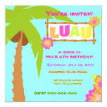 "Luau Invitation Blue 5.25"" Square Invitation Card"