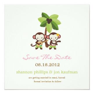 "Luau Monkeys Save The Date Announcement 5.25"" Square Invitation Card"