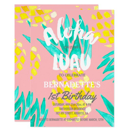 Luau Party Aloha Pineapples First Birthday Invitation