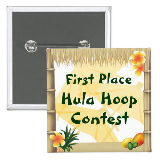 Luau Party First Place Hula Hoop Award Button