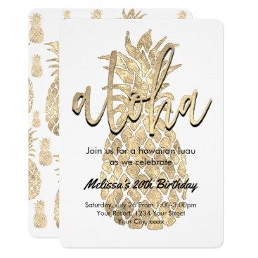Beach Themed luau party golden pineapple card