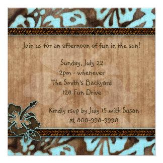 Luau Party Invitation Hibiscus Blue Brown