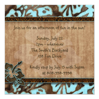 Luau Party Invitation Hibiscus Blue Brown