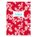 Luau Party Invitation Hibiscus Flower Red White