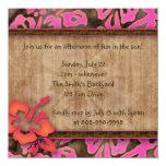 "Luau Party Invitation Hibiscus Pink Brown Orange 5.25"" Square Invitation Card"