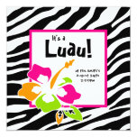 "Luau Party Invitation Hibiscus Zebra Pink Org Lime 5.25"" Square Invitation Card"