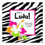 "Luau Party Invitation Hibiscus Zebra Pink Org Lime 5.25"" Square Invitation Card"